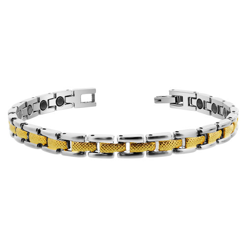 Magnetic Link Two tone 0.25 inch Wide Bracelet 7.5 inch Long with Fold over Clasp