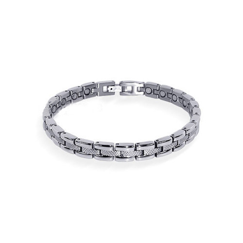 """Magnetic Link Textured Silver Therapy 7.5"""" Bracelet with Fold over Clasps"""
