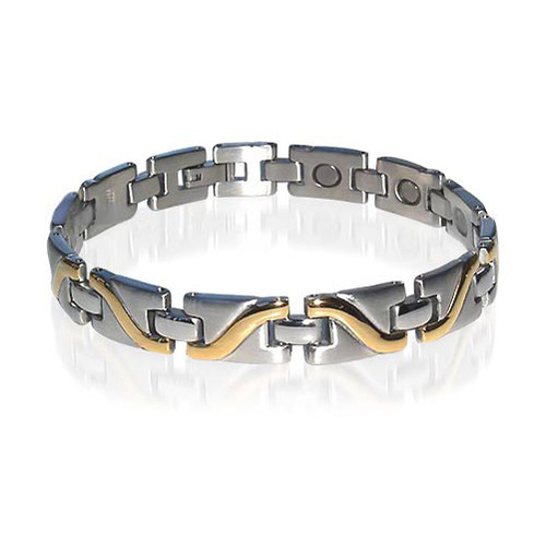 Stainless Steel Magnetic Therapy 8 Inch Bracelet  with Fold over Clasps