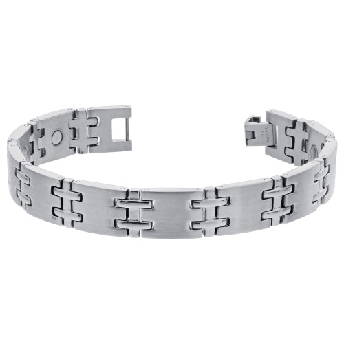 Men's Stainless Steel Magnetic Silver Tone Therapy Bracelet