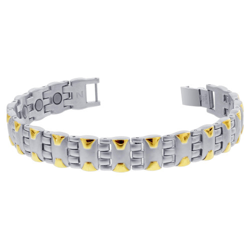 Men's Stainless Steel 2 Tone Magnetic Golf Therapy 8 inch Link Bracelet