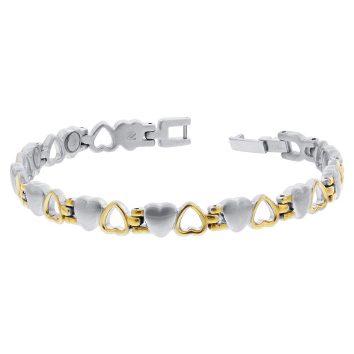 Titanium New Magnetic 2 Tone Open Heart Therapy Bracelet 7.5 inch
