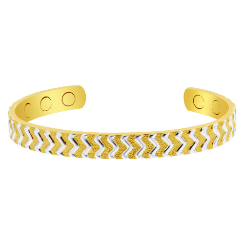 Two Tone Women's Wave Design Magnetic Therapy Bracelet