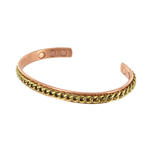 8mm Wide Magnetic Copper Golf Therapy Cuff Bracelet