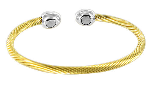 """Stainless Steel Gold Plated Twisted Wire Magnetic Therapy Cuff 2.5"""" Bracelet"""