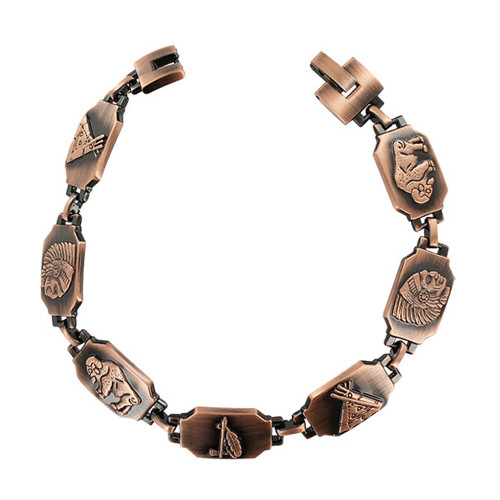 Men's 13mm wide Magnetic Link Copper Clad Therapy Bracelet with 8.5 inch long