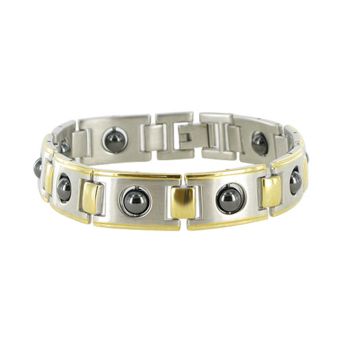 Men's Two tone Magnetic Link Simulated Hematite Therapy Bracelet