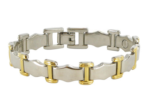 10mm Wide Two Tone Link Magnetic Bracelet 7.75 inch Long with Fold over Clasps