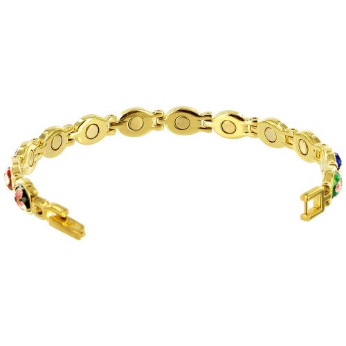 Enamel Flower Gold Plated Link  Magnetic Therapy 7.25 inch Bracelet