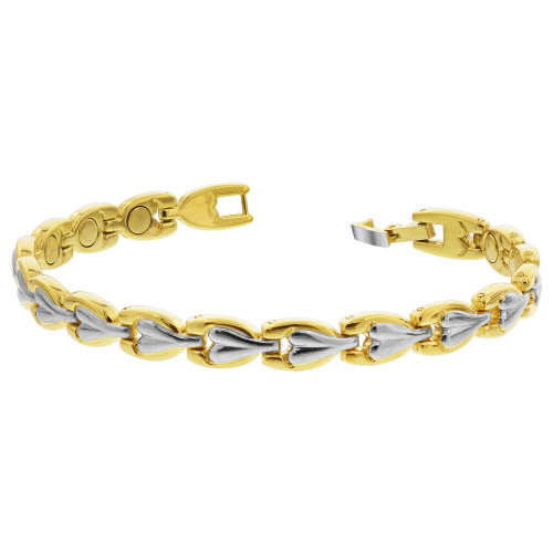 Two Tone Finish Magnetic Link Therapy 8 inch Bracelet with Fold over Clasps