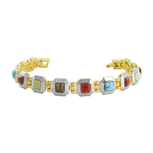Multi Stone Magnetic Link Therapy 7.5 inch Bracelet with Fold over Clasp