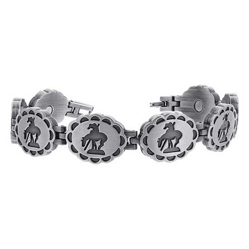 """Oxidized Finish Rider and Horse Design Magnetic Link Therapy 8.5"""" Bracelet"""