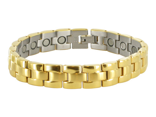 11mm Stainless Steel Gold Tone Magnetic Therapy Bracelet 8.5 inch