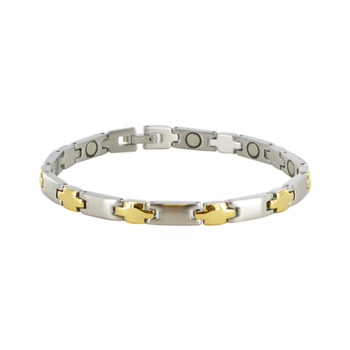 7mm Stainless Steel Two Tone Magnetic Therapy Bracelet 8.5""
