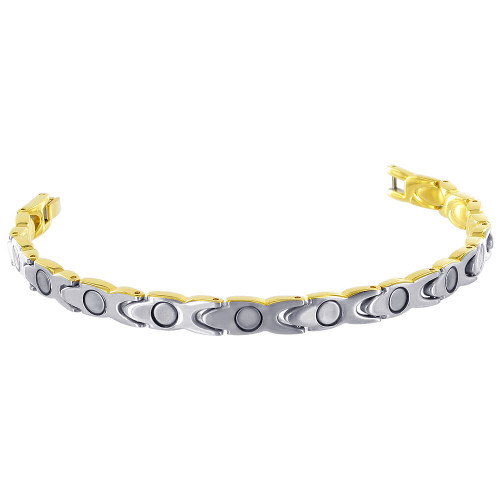 Stainless Steel Gold Plated Magnetic Therapy Bracelet with Fold over Clasp
