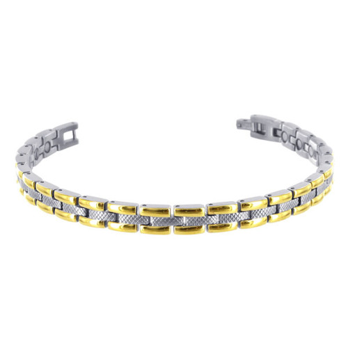 """Stainless Steel Two Tone Magnetic Link Therapy 8.5""""Bracelet"""