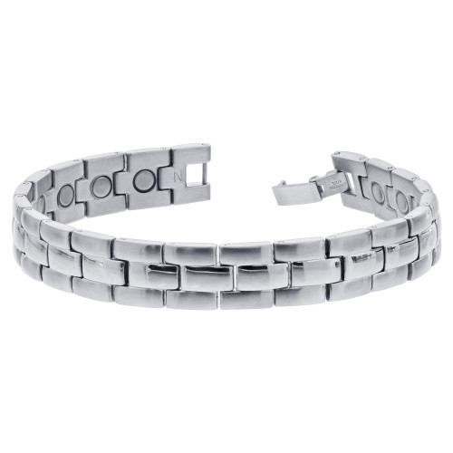Men's Stainless Steel Magnetic Link Therapy Bracelet with Fold over Clasps