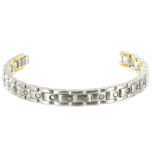 Stainless Steel Magnetic Link Unisex Therapy 8 inch Bracelet with Fold over Clasps