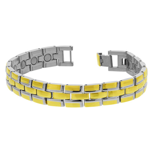 Men's Stainless Steel Magnetic Link Gold Tone Therapy Bracelet