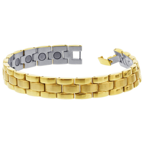 Men's Stainless Steel Gold Tone Magnetic Link Therapy Bracelet