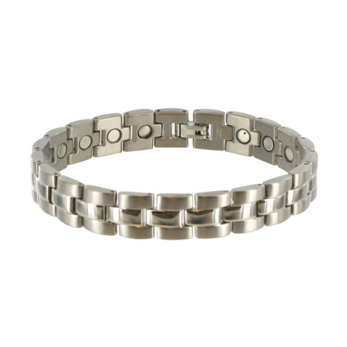 Men's Titanium Silver Tone Finish Magnetic Link Therapy Bracelet