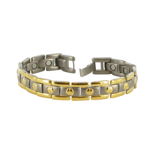 Men's Two Tone 11mm Titanium Magnetic Link Therapy Bracelet