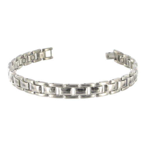 Titanium Magnetic Link Therapy 8.5 inch Bracelet with Fold over Clasp
