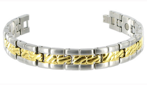 Men's Titanium Two Tone Magnetic Link Therapy Bracelet with Fold over Clasp