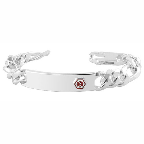925 Sterling Silver 11mm Thick Medical Identification 8 inch Link Mens Bracelet with Lobster Claw Clasp