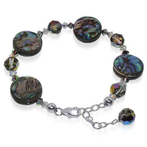 "925 Silver Swarovski Crystal with Dyed Abalone 7 to 8"" Adjustable Bracelet"