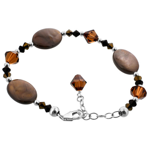 925 Sterling Silver Dyed Abalone with Swarovski Elements Brown Crystal Handmade Bracelet 7 to 9 inch Adjustable