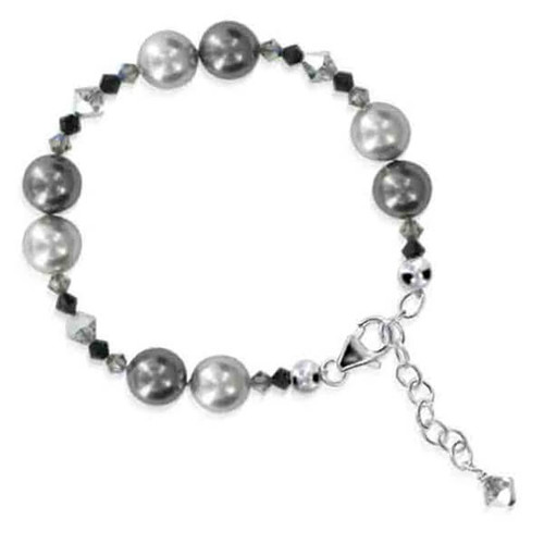 925 Silver Faux Pearl with Swarovski Crystal Bracelet 7 to 8 Inch Adjustable