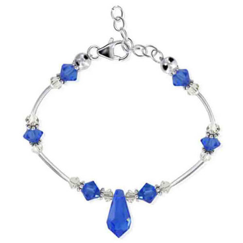 925 Sterling Silver Swarovski Elements Blue Crystal with Bali Beads Handmade Bracelet 7 to 8.5 inch Adjustable