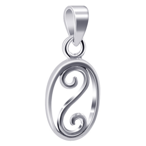 925 Sterling Silver 14mm x 10mm Oval Shape with Swirl Pendant