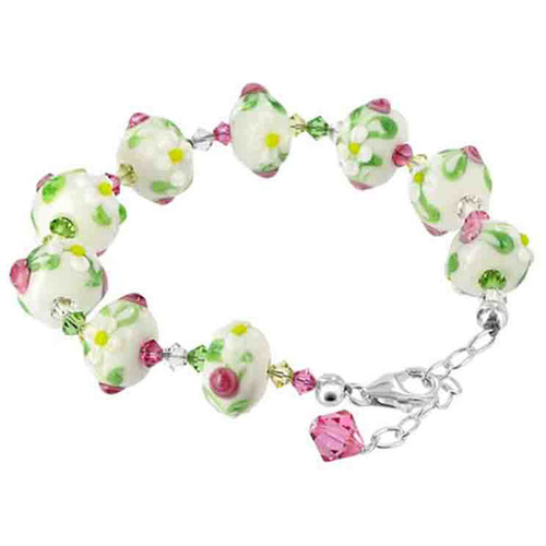 925 Sterling Silver 12mm White Floral Glass with Swarovski Elements Crystal Handmade Bracelet 7 to 9 inch Adjustable