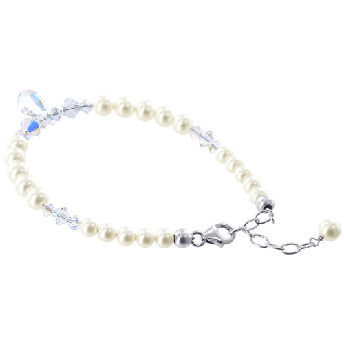 925 Sterling Silver Swarovski Elements Faux Pearl with Clear AB Crystal Handmade Bracelet 7 to 8.5 inch Adjustable