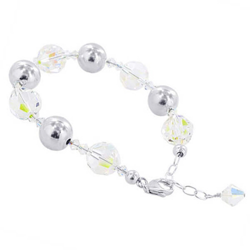 925 Sterling Silver Made with Swarovski Elements Ball Clear AB Crystal Handmade Bracelet 7 to 8 inch Adjustable