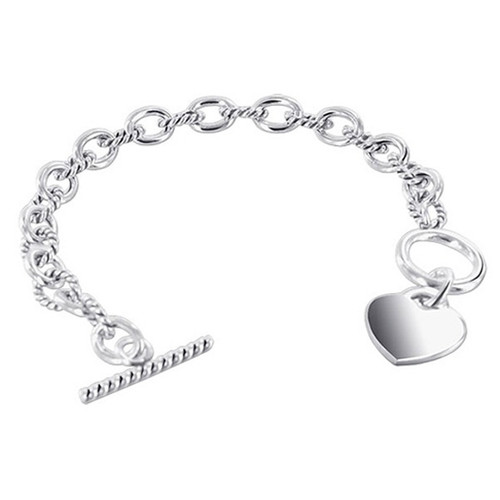Oval Cable Link 7.5, 8 Inch Bracelet with Toggle Clasp