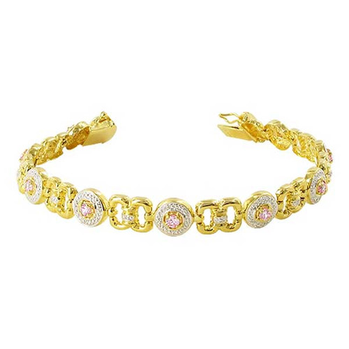 Gold over 925 Silver Pink Topaz Link Two Tone 7.25 inch Bracelet
