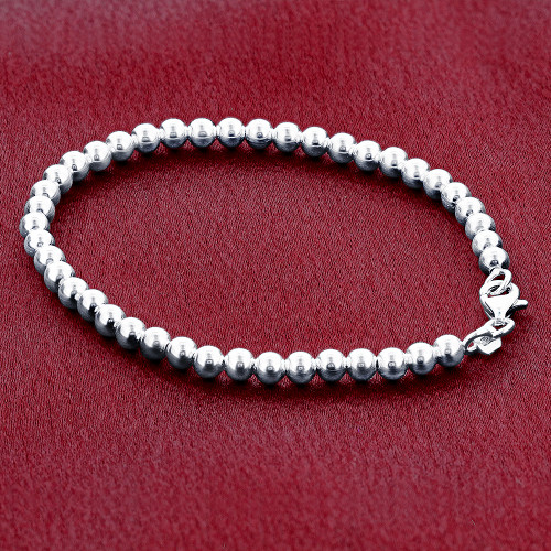 925 Sterling Silver Beads Bracelet With Lobster Clasp