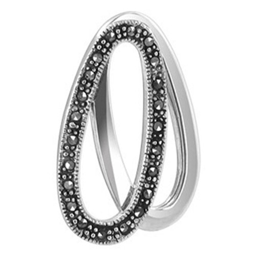 925 Silver Oval with Marcasite accents Slide Pendant