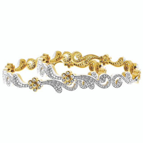 Gold Plated Cubic Zirconia Swirl Design Bollywood Indian Bangle Bracelet set of 2