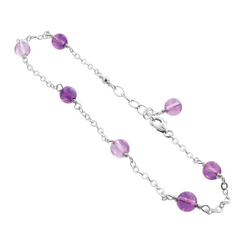 Simulated Amethyst Bead Handmade 925 Sterling Silver 7 to 9 inch Bracelet
