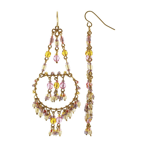 Handmade Chandelier Czech Seed Citrine and Pink Beads French Wire Hook Earrings