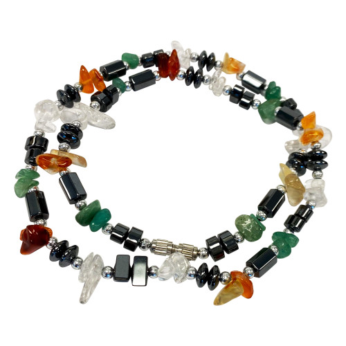 Natural & Simulated Multi Stone Necklace 18 Inch Long