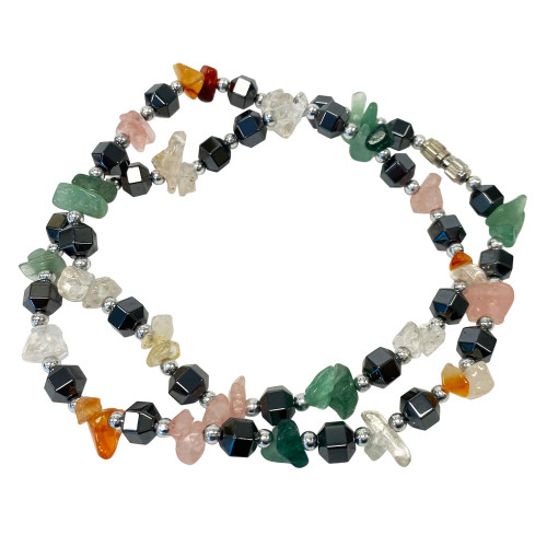 Natural and Simulated Multi Stone Necklace 18 Inch Long