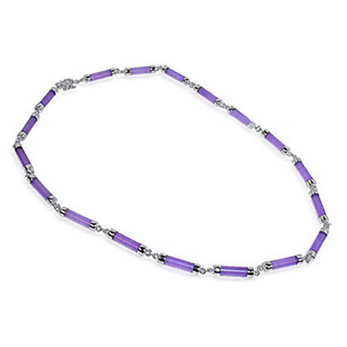 Sterling Silver Purple Gemstone 16 inch Necklace #KJNK006