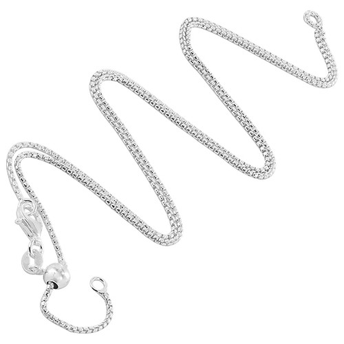 925 Silver 1.3mm Box Chain with Slider Charm Necklace