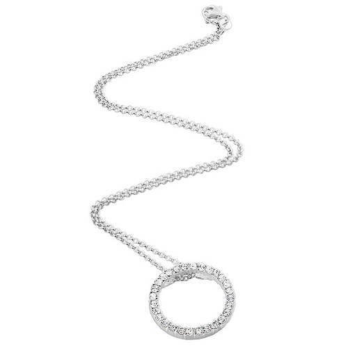 925 Sterling Silver Clear CZ Eternity Pendant with Rolo Chain Necklace