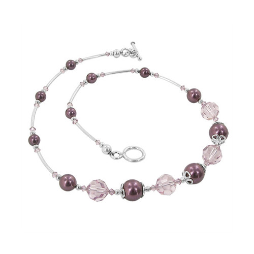 Sterling Silver Pearl Necklace with Crystal